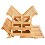 WORTHYEAH Bamboo Dish Drying Rack, 3 Tier Collapsible Dish Rack with Utensil Holder, Wooden Dish Drying Rack for Kitchen Counter, Large Folding Drying Holder, Dish Drainer