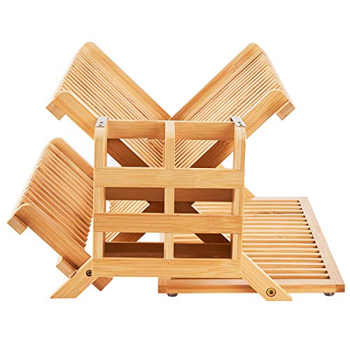 WORTHYEAH Bamboo Dish Drying Rack, 3 Tier...