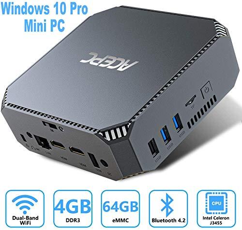 ACEPC Mini-PC mit Intel Celeron J3455 Prozessor, 4GB RAM/ 64GB ROM, Windows 10 Pro Mini Computer mit 2,5 Zoll HDD/SSD Bay, mSATA Port, 4K HD, Gigabit Ethernet, Dual Band WLAN, BT4.2