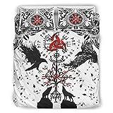 Hothotvery - Juego de ropa de cama de 3 piezas con estampado de lujo y fundas de almohada (229 x 229 cm), color blanco