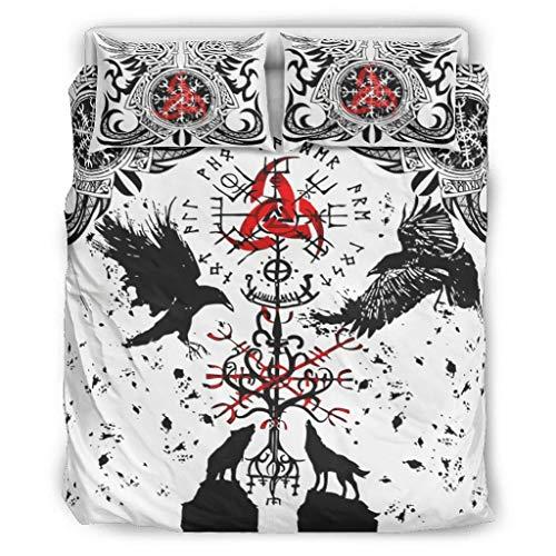 Relaxident VIKINGS TATTOO - Juego de cama de 3 piezas para todas las estaciones, color blanco