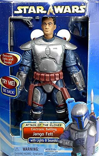 "Hasbro Jango Fett Electronic AOTC 12\"" Inch / 30 cm Actionfigur Star Wars Saga Collection 2003"