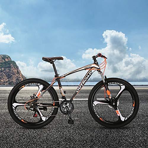 Outroad Mountain Bike 26-inch Wheel 21 Speed 3 Spoke Double Disc Brake Bicycle Suspension Fork Rear Anti-Slip Bike for Adult or Teens (Orange)