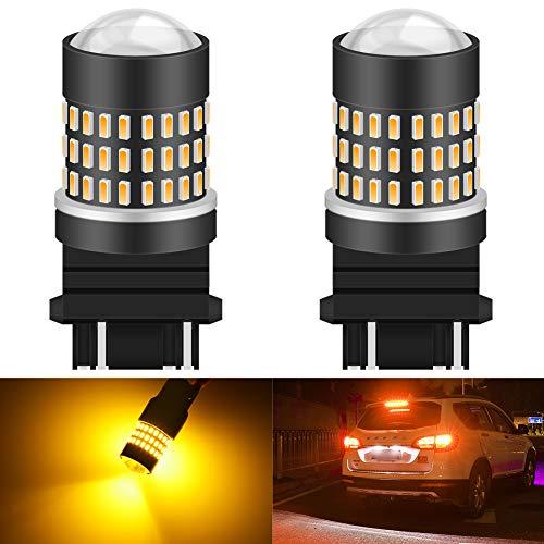 KATUR 3157 3047 3156 Bombilla de luz LED 900 LM 3014 78SMD Lente Bombillas LED para señal de Giro de Freno Cola de Respaldo Lámpara de luz de Freno inversa, ámbar (Paquete de 2)