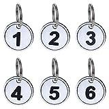 Aspire PACK di 50 portachiavi numerici con anello, portachiavi con targhetta identificativa numerata in ABS