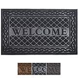 Mibao Welcome Door Mat,Dirt Trapper Mat,60x90cm,Black Entrance Mat,Heavy Duty Front Door Mat, Non-Slip Outside Door Mat,Shoes Scraper Doormat for Outdoor and Indoor