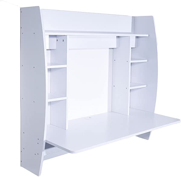 WisHome Exquisite Room Saving Wall Built Up Computer Desk White