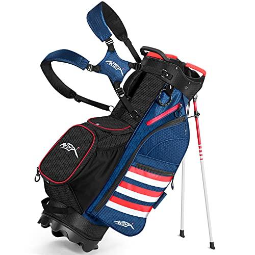 ANTNA Lightweight Golf Stand Bag with 14 Way Divider Portable Golf Carry Bag, Water Resistance Women Men Golf Bag 8 Pockets Storage