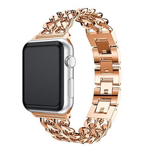 GUOCHEN Correa Compatible con Apple Watch 38mm 42mm, Banda de Acero Inoxidable Reemplazo de reemplazo Pulsera Pulsera de Pulsera Ajustable,Rose Gold,42mm