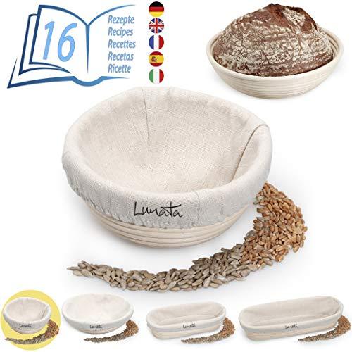 Lunata -Upgrade 2019- Cestino da lievitazione con Libro di Cicette con 16 deliziose Ricette per Pasticceria (PDF) – di Canna d'india Naturale (Tondo | Ø16cm) – con Inserto in Lino