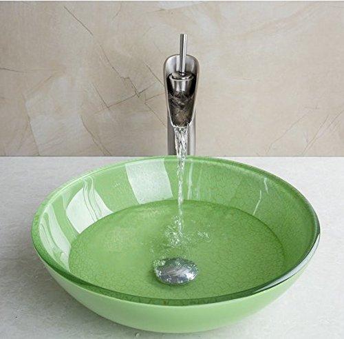 Gowe Vert rond en verre trempé de lavabo pour évier avec Nickel brossé de salle de bain robinet lavabo de verre