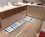 Homcomodar Tappeto da Pavimento Lavabile Cucina Antiscivolo Tappeto da Bagno Morden Fish Modello Tappeto Zerbini Assorbenti, Fish (40x60cm+45x120cm)