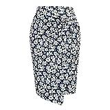 N\P Falda con estampado floral para mujer, de cintura alta, para mujer elegante, cómoda