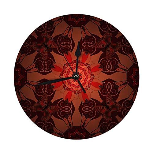 NOBRAND Reloj de Pared Redondo Boho Style Flower Mandala Diseño de Azulejos Fab Round Kitch Reloj de 25 cm, silencioso y con números árabes Vintage