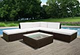 <span class='highlight'><span class='highlight'>PananaHome</span></span> Rattan Outdoor Garden Furniture Set 5-Seater Corner Sofa Set Table and Chairs Conservatory Patio Brown Wicker with Cream Cushions