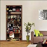 Pegatinas Puerta 3D Door Sticker Moderno Dormitorio Murales Puerta Autoadhesivo- Armario para vinos -PVC Retirable 2pc DIY Dormitorio Pegatinas Decorativas de Puerta 77x200cm