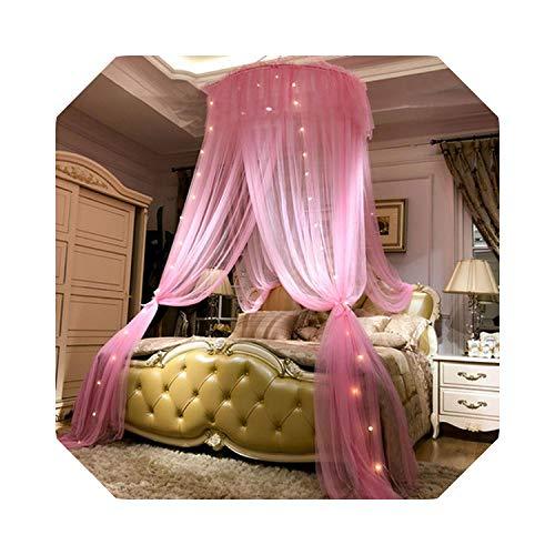 Para viajar Camping |Princess Style Hung Dome Mosquitera Cortina de encaje redondo para el hogar Textil Cama Canopy Cuna Tienda de malla de poliéster Chicas-Rosa con lámpara-Cama 1.8x2.2m