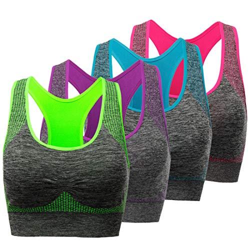 TOBWIZU Sports Bras for Women, Medium Support Yoga Gym Activewear Bras with Pocket