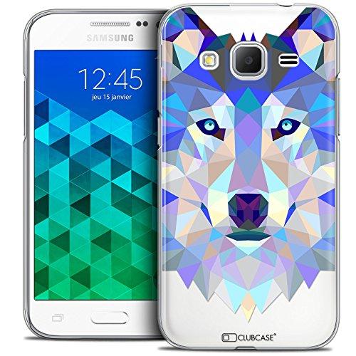 Caseink - Coque Housse Etui pour Samsung Galaxy Core Prime (G360) [Crystal HD Polygon Series Animal - Rigide - Ultra Fin - Imprimé en France] Loup