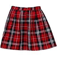 Lenfesh Mujer Escocesa Mini Faldas Kilt Escocesa Plisada de Uniforme Escuela Tartán - Rojo (S, Rojo)