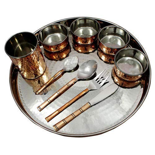 TreegoArt Juego de vajilla de cobre de acero de cobre Thali, cuencos, cuchara, tenedor, cristal, estilo tradicional, 10 piezas | Thali diámetro 33 cm