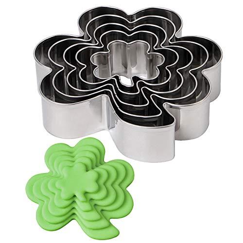 BakingWorld Clover Cookie Cutter Set - St. Patrick's Day Irish Shamrock Cookie Cutters Mold,1.6'/2.2'/2.7'/3.4'/4.0' Assorted Sizes