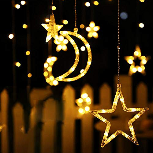 Solar Moon Star String Lights Outdoor Garden, Led Solar Powered Outdoor Fairy Garden Lights, Easy to Install 2 Switches 8 Different Modes Solar Lamp, for Wedding Christmas Decorations