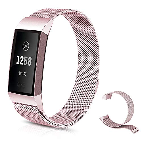 Sporgo Fitness Armband für Fitbit Charge 3 Armband,Milanese Loop Edelstahl Verstellbare Ersatz Armbänder mit Magnetverschluss für Fitbit Charge 3 Fitness Tracker Armbänder,Metall Ersatzarmbänder(Pink)