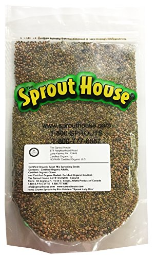 The Sprout House Certified Organic Non-gmo Sprouting Seeds Original Salad Mix Broccoli, Clover, Radish, Alfalfa 1 Pound