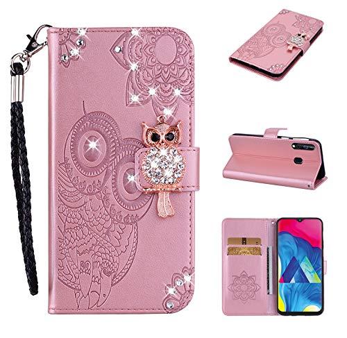 Lederhülle kompatibel mit Huawei P30 Lite Hülle Glitzer Diamant Bling Eule Roségold Handyhülle Handy Tasche Flip Hülle Cover Schutzhülle mit Kartenfach für Mädchen Frauen