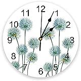 tuobaysj Reloj De Pared Planta De Flor De Diente De León Reloj De Pared Blanco Cocina Hogar Sala De Estar Decoración De Dormitorio Decoración De Pared para Niños Reloj De Pared 25X25Cm