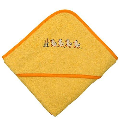 Mauz Grande serviette de bain à capuche en tissu éponge 100 x 100 cm (canard jaune)