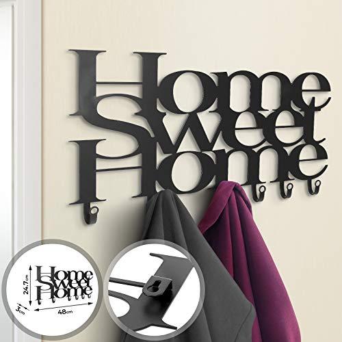 MIADOMODO Perchero de pared de 4 a 9 ganchos de metal, moderno, color negro mate, diseño a elegir – Perchero, perchero de pared, multiusos, perchero (Home Sweet Home)