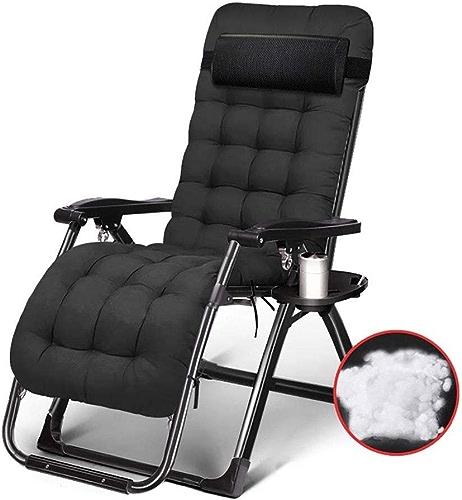 CHAIRQEW Zero Gravity Patio Lounger Chaise Longue Adultes Pliant Camping Chaise Lounging Portable Lit for Les Jardins La Natation Soutient 200 kg (Couleur   noir Tube Cotton Pad)