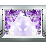 FHZON 10x7ft Purple Flower Photography Backdrop Bokeh Blur Background Themed Party YouTube Backdrop Photo Booth Studio Props FH1393