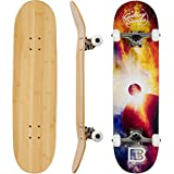 Bamboo Skateboards Complete Skateboard - More Pop, Lighter, Stronger & Lasts Longer Than Most Decks- Includes Deck, Trucks, Wheels, Hardware, ABEC 7 Bearings, Grip Tape, Bonus Y Tool, 8.25
