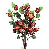 exceart gruppo di 5 melograno bacche bouquet floreale fiori artificiali fiori di melograno bacche di rami artificiale di rosa canina bacche di simulazione frutto del melograno decorazione