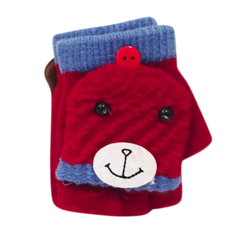 Gonee 素敵な小さなクマ幼児の赤ちゃんかわいい厚いパッチワークの女の子の男の子暖かいフリップ手袋