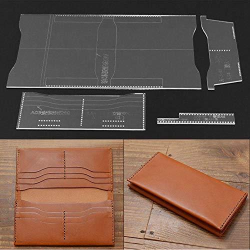 Patrón de billetera de acrílico transparente Plantilla de plantilla de acrílico de monedero largo Herramienta de molde de artesanías de cuero DIY