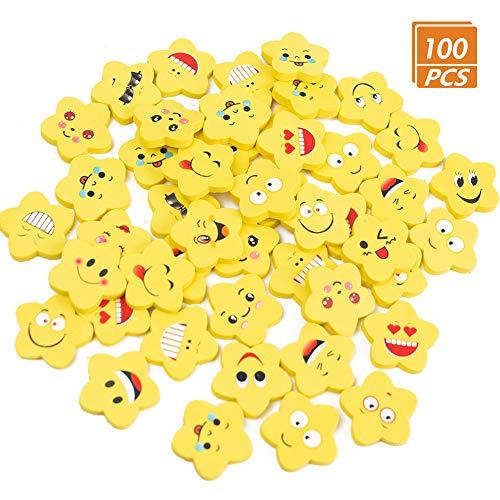 Koogel Emoji Radiergummi, 100 Stücke Smiley Radierer Kinder Kleine Lustige Radiergummi Mitgebsel für Schüler Gastgeschenke Geburtstag Party