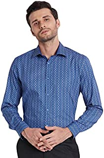 Knighthood by FbbMoroccan Print Regular Fit Formal Shirt Blue