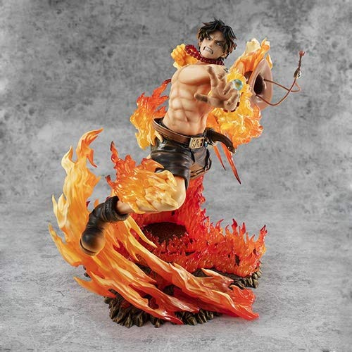 DMCMX One Piece handgemachte Modell-Cartoon-Figuren Portgas · D · Ace 15th Anniversary Special Edition Feuerfaust Brennen Obst Fähigkeit Static Desktop-Modell PVC-Material 25cm Chassis Dekoration