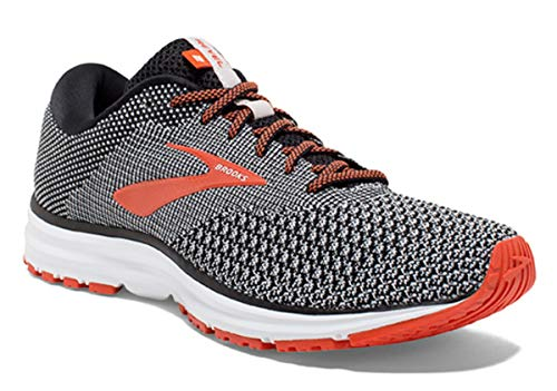 Brooks Mens Revel 2 Running Shoe - Black/Light Grey/Orange - D - 8.0