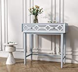 """COZAYH Modern Contemporary Clean-Lined Sofa Table, Console Table, Mirror Front Drawers w/Geometric Overlays, 31.5"""",Light Gray"""