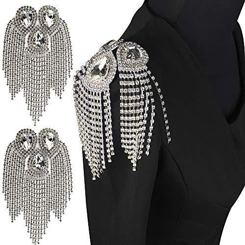 2 piezas borla cadena hombro placa insignias cuentas rhinestone parche Epaulet Epaulette apliques para traje militar costura (I)