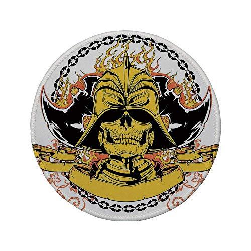 """Rutschfreies Gummi-Rundmauspad Japanisch Skelettkrieger mit Äxten am Helm in Feuer und Kette Mittelalterliche asiatische Mythologie Gelb Schwarz 7.9\""""x7.9\""""x3MM"""