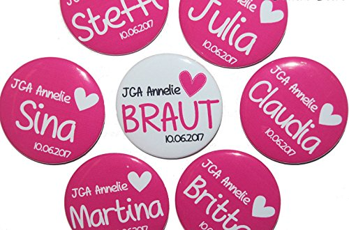 JGA-Button Set, groß, 50mm, Hochzeit-Junggesellenabschied, personalisiert, Menge und Text individuell auswählbar, Ansteckbutton, Motiv: Herz pink