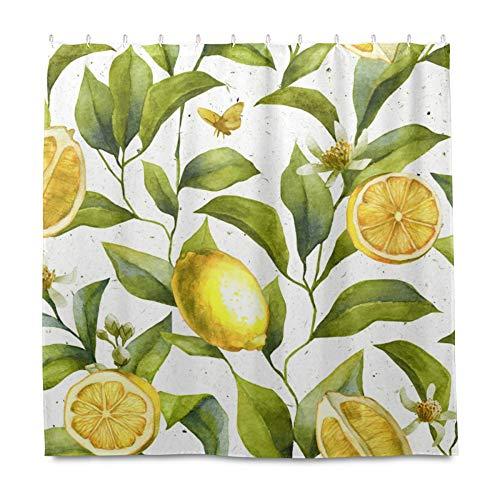 RELEESSS Duschvorhang Obst Zitrone Blumen Wasserdicht Badezimmer Gardinen mit Haken 182 x 182 cm