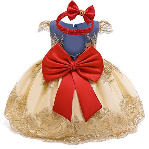 NNJXD Bebé Chicas Tul Flor Princesa Cumpleaños Partido Vestido Talla(70) 0-6 Meses Amarillo-702