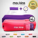 Mockins 2 Pack Pink & Purple Inflatable Lounger Air Sofa Perfect for Beach Chair Camping Chairs or Portable Hammock and Includes Travel Bag Pouch and Pockets   Easy to Use Camping Accessories